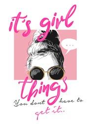 girl slogan with girl illustration