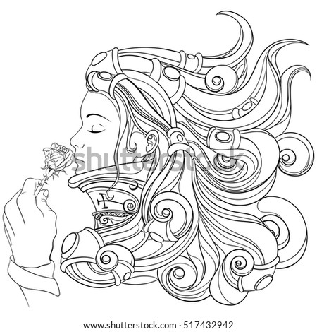 girl smelling a beautiful rose