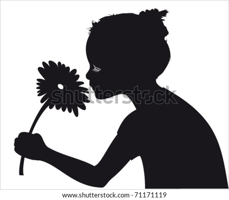 girl smelling flower vector
