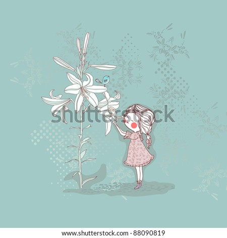 girl smelling lilly