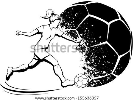 Girl Soccer Player with Splatter Ball