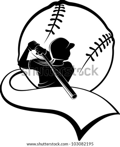 Girl Softball Batter with Pennant