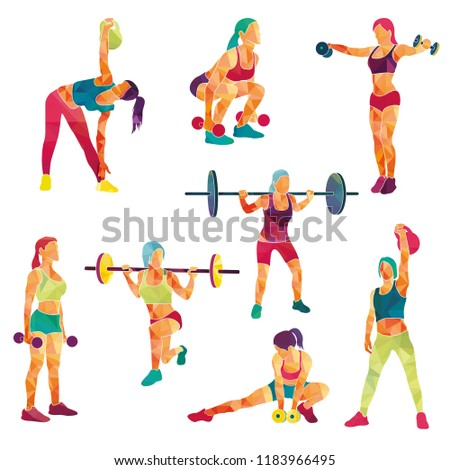 Girl sport. Girl fitness, gym, body-building, workout, powerlifting. Healthy lifestyle. Vector illustration