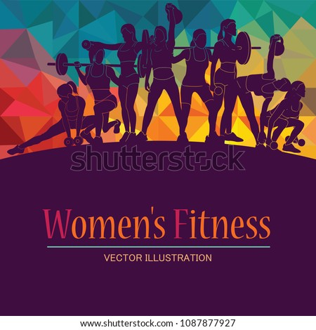 Girl sport. Girl power. Girl fitness, gym, body-building, workout, powerlifting, crossfit. Healthy lifestyle. Vector illustration