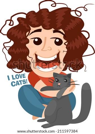 girl squeezes cat