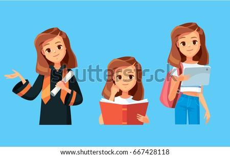 Girl student. Graduated student. Reading books.