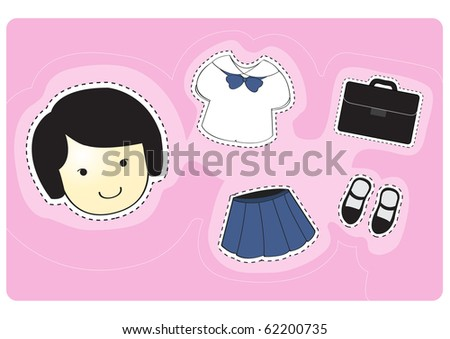 stock vector : Girl student with variety of clothes for dress-up cartoon