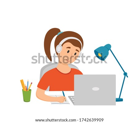 Girl studying online education at home cartoon vector illustration. Student workplace desktop computer doing homework; surfing internet; e-learning; school lesson concept. Pupil kid learning process