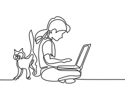 Girl studying with notebook and cat walking near. Back to school concept. Continuous line drawing. Vector illustration on white background