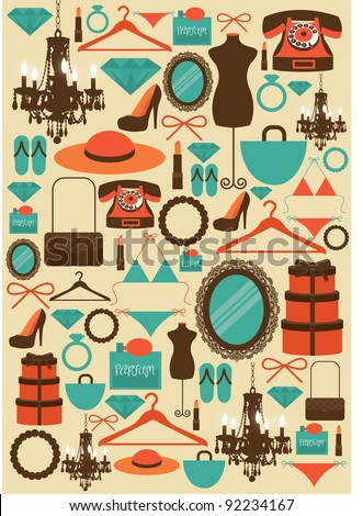 girl stuffs vector/illustration