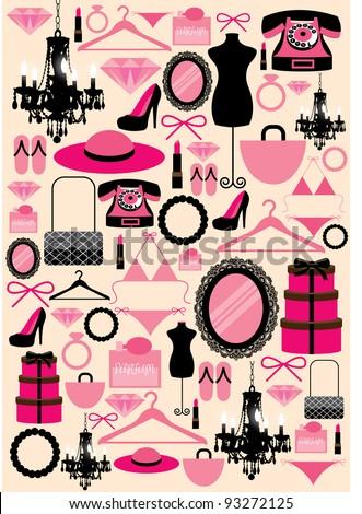 girl stuffs vector illustration