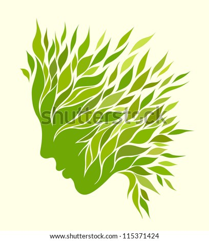 Girl stylized profile design with green leaves