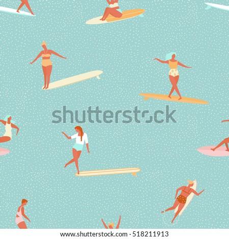 girl surfer in bikini seamless