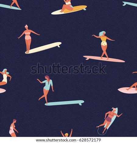 girl surfers in bikini seamless