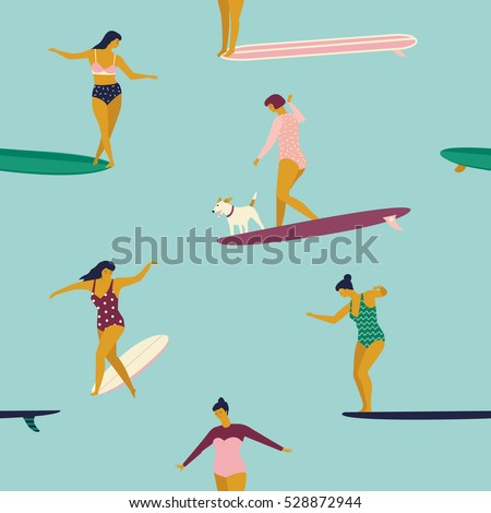 Stock Photo Girl surfers in bikini seamless pattern in vector. Flat style illustration. Summer beach surfing illustration. Longboard women surfing.