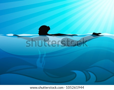 Girl swimmer swimming in swimming pool on beautiful natural water background. EPS 10.