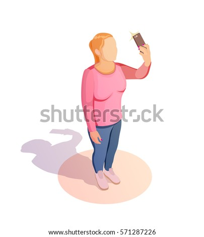 Girl take a selfie with smartphone. Isometric