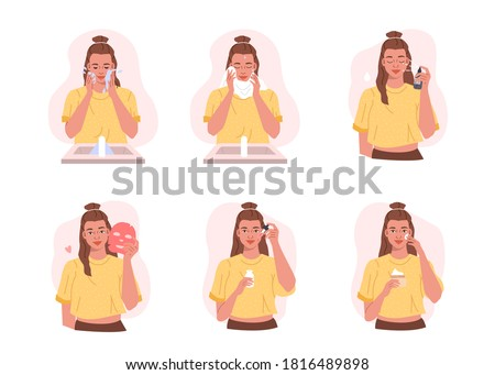 Girl Take Care of her Face and doing Beauty Routine Skincare Procedures. Adorable Woman Washing Face, Applying Facial |Mask, Serum and Moisturizing Cream. Flat Cartoon Vector Illustration.