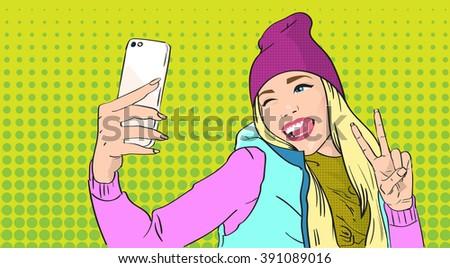 girl taking selfie photo on