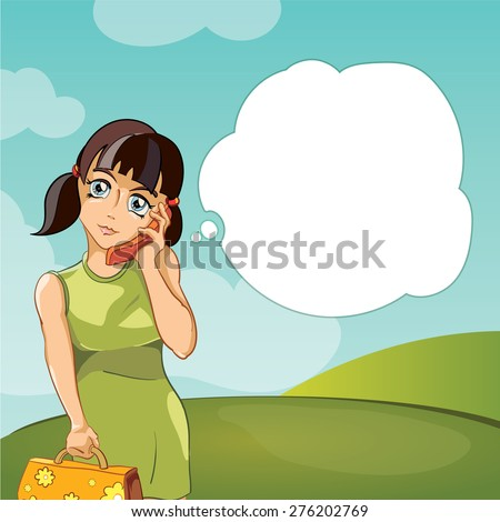 girl talking on phone  vector