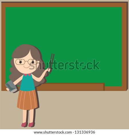 Girl Teacher with an empty space chalkboard background for your text