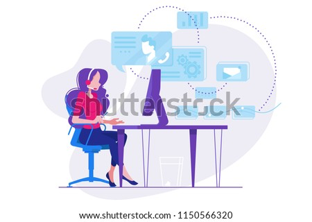 Girl telephone consultant in workplace
