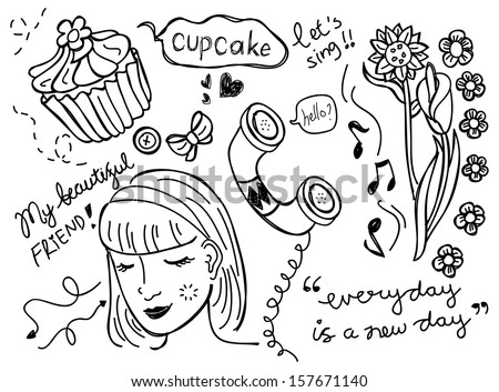 girl things doodle
