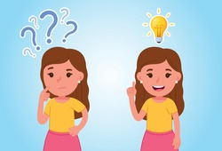 Girl thinking. Emotions and gestures. Think not, do not understand, Think out. The concept of learning and growing children. Idea. Flat style vector illustration isolated.