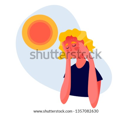 Girl tired due to high temperature. Hot weather and get heat or sun stroke