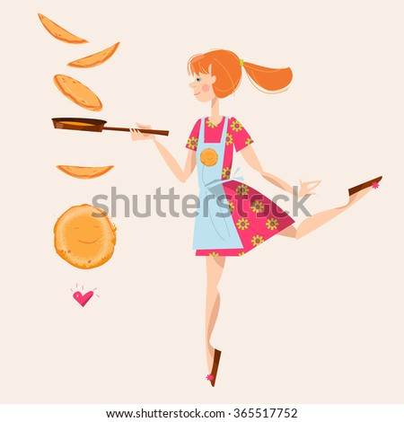 girl tosses pancakes on a
