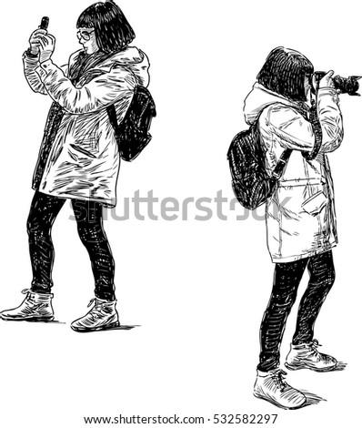 girl tourist shooting
