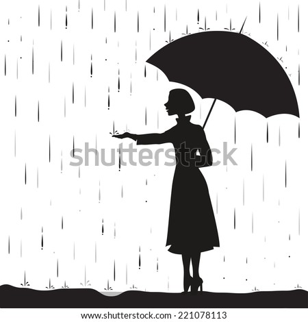 girl under the rain holding umbrella, touching the rain drops, downpour, shadows, black and white