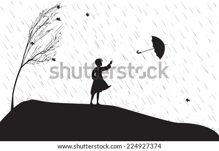 girl under the rain trying to