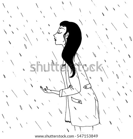 girl under the rain   vector