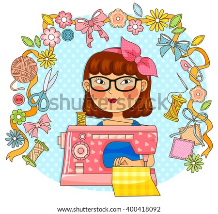 girl using a sewing machine