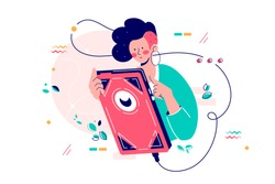 Girl using giant smartphone vector illustration. Woman chatting on trendy modern cellphone flat style design. Mobile phone addiction and technology concept