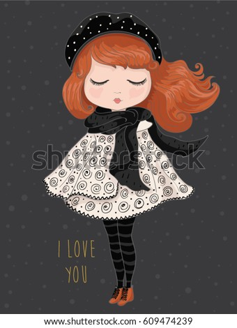 Girl vector.Children illustration for School books and more.T-shirt graphic.cartoon character.vintage postcard.Template for design cards, notebook, shop, poster.Fairy girl print.Winter girl