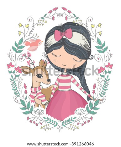Shutterstock girl vector/T-shirt print/dear vector/animal pattern/animal vector/cute girl vector/Book illustrations for children/Romantic hand drawing poster/cartoon character/For apparel or other uses in vector.