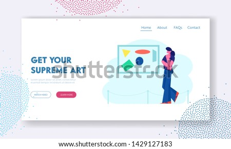 Girl Viewing Modern Abstract Painting at Contemporary Art Gallery Enjoying Watching Creative Exhibits in Museum. Exhibition Website Landing Page, Web Page. Cartoon Flat Vector Illustration, Banner