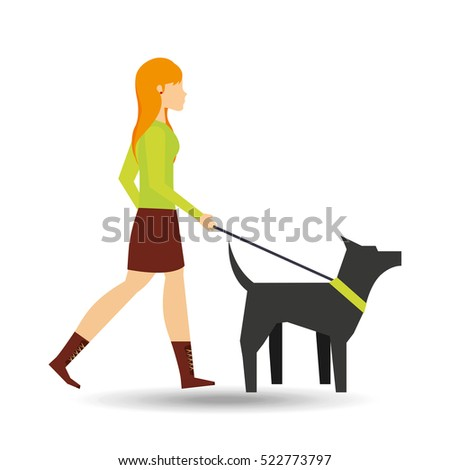 girl walking a gray dog with
