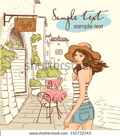 girl walking by cafe