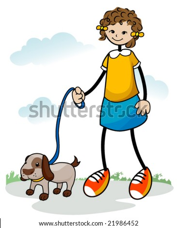 Girl walking her dog - Vector