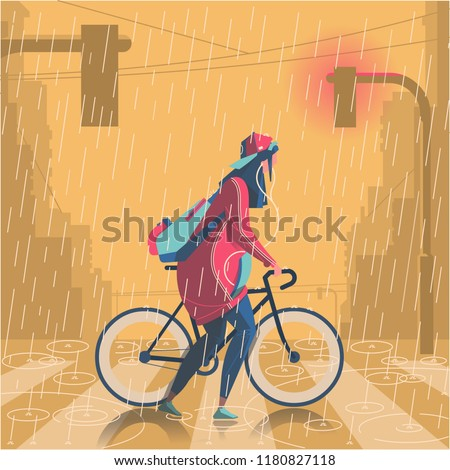 Girl walking in rain with her bike illustration