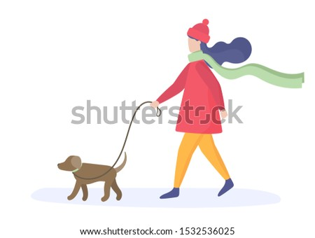 girl walking with dog color