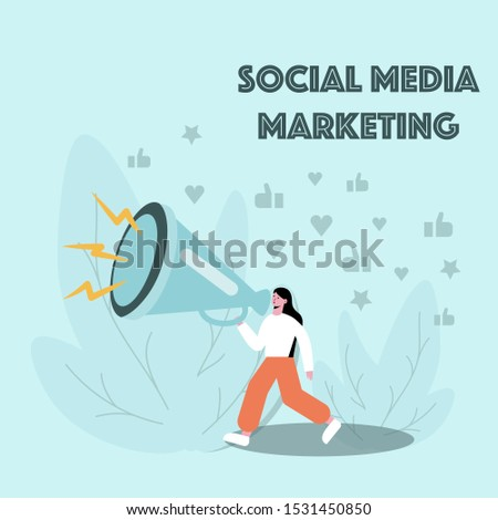 Girl walks down the street with loudspeaker in her hands. Concept of SMM tools using and promoting business or product. Trees and many likes on a background. Flat vector illustration