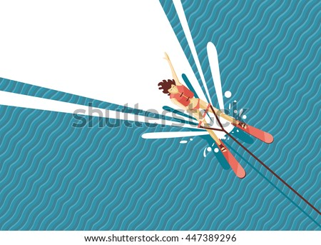 girl water skiing top view of