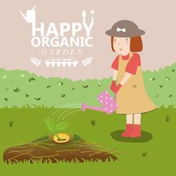 Girl watering. Organic garden. Plant growing. Pretty girl. Vector illustration