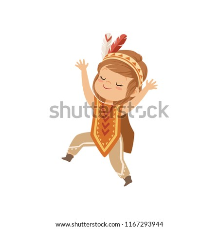 Girl wearing native Indian costume and headdress, kid playing in American Indian vector Illustration on a white background #1167293944
