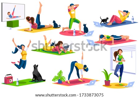 Girl wellness, sports at home by workout doing. Healthy workout for the body, home indoor sports for female wellness. Training female indoors for body health concept. Cartoon style vector illustration
