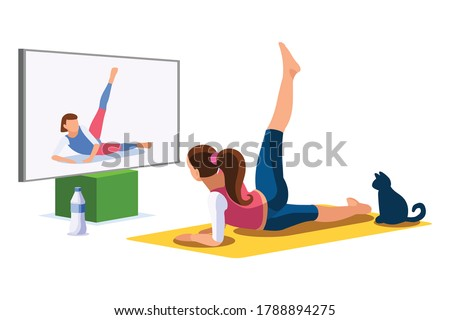 Girl wellness, sports at home by workout doing. Healthy workout for the body, home indoor sports for female wellness. Training female indoors for body health concept. Cartoon style vector illustration Stock photo ©